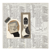 <I>Silhouette University</i> 1976-88 Ink and collage on board  15 3/4 x 15 3/4 inches; 40 x 40 cm