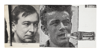 <I>Untitled (Jasper Johns, James Dean with Coca-Cola)</i> 1993 Collage on board  8 1/2 x 18 inches; 22 x 46 cm