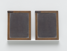 <I>Blackboard Tableau #12</i> 2007-2015 One found object and one made object: leather, alkyd oil, acrylic, and pastel on wood Each: 11 x 8 1/2 x 1/4 inches; 28 x 22 x 1 cm