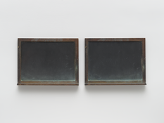 <I>Blackboard Tableau #14</i>  2011-15 1 found tablet and 1 made tablet: wood, acrylic, alkyd oil, and pastel 18 3/4 x 51 1/2 x 2 1/2 inches; 48 x 131 x 6 cm