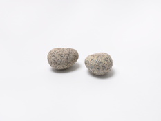 <I>Two Stones</i> 1977/2014-16 1 found stone and 1 made stone: bronze and alkyd oil  2 1/4 x 8 x 5 1/2 inches; 6 x 20 x 14 cm