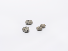 <I>Four Stones</i> 1977/2014-16 2 found stones and 2 made stones: bronze and alkyd oil 1 1/8 x 6 1/2 x 5 3/4 inches; 3 x 17 x 15 cm