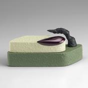<I>Witzelsucht</i> 2016 Ceramic, porcelain, glaze, catalyzed polyurethane, and epoxy resin  3 x 6 1/2 x 3 inches; 8 x 17 x 8 cm