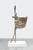 <I>Los Hadeans (III)</i> 2017 Hand-painted bronze and pompom on painted MDF pedestal 89 x 39 1/2 x 26 3/4 inches; 226 x 100 x 68 cm