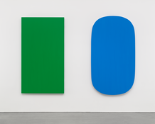 <I>Diptych: Green Blue</i> 2015 Oil on canvas, two panels  80 x 114 1/2 inches; 203 x 291 cm