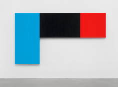 <I>Blue Black Red</i> 2015 Oil on canvas, three joined panels  73 3/4 x 130 3/8 inches; 187 x 331 cm