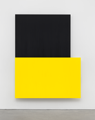<I>Yellow Over Black</i> 2015 Oil on canvas, two joined panels  90 1/8 x 70 1/8 x 2 3/4 inches; 229 x 178 x 7 cm