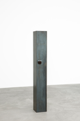 <I>Early Sculpture</i> 2017 Patinated steel and pompom 64 1/2 x 10 1/2 x 9 inches; 164 x 27 x 23 cm