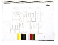 Gary Hume <i>Sketchbook</i> 1990 Spiral-bound 21 sheets  Ink, graphite and collage on paper 12 x 16 inches; 30.5 x 41 cm