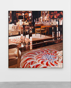 Jack Mendenhall  <I>Mirrored Table with Decanters</i> 1981 Oil on canvas  72 x 68 inches; 183 x 173 cm