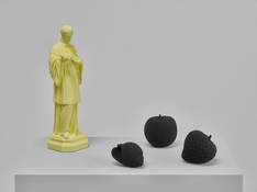 Katharina Fritsch <I>7. Stilleben (Still Life 7)</i> 2017 Four hand-finished casts: St. Aloysius, Apple, Strawberry, Shell / High speed resin cast, plaster of Paris, and paint on MDF and plywood pedestal 51 x 31 1/2 x 19 3/4 inches; 130 x 80 x 50 cm