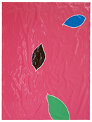 <I>Three Leaves</i> 2016-17 Enamel paint on paper mounted in artist's frame 75 x 55 3/4 inches; 191 x 142 cm