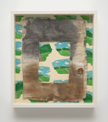 <i>Stained Diaper on Wallpaper</i> 1979-2017      Cotton diaper with stain, ink over linoleum block on paper      14 3/4 x 13 1/4 x 2 3/8 inches; 38 x 34 x 6 cm
