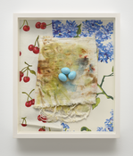 <i>Eggs on Diaper</i> 2007-2017      Cotton diaper with acrylic paint, epoxy putty, fabric, hand-printed silkscreen on paper      14 x 12 x 2 3/8 inches; 36 x 31 x 6 cm