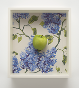 <i>Apple/Lilacs</i> 2006-2017      Beeswax, oil paint, hand-printed silkscreen on paper      14 3/4 x 13 1/4 x 4 1/4 inches; 38 x 34 x 11 cm