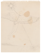 <i>Icarus</i> 1967 Graphite on spiral-edged paper 12 x 9 inches; 31 x 23 cm