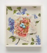 <i>Diaper on Wallpaper with Eggs</i> 2007-2017 Ceramic with oil paint, cotton diaper, hand-printed silkscreen on paper 15 x 13 1/4 x 2 3/8 inches; 38 x 34 x 6 cm