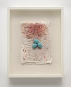<i>Eggs on Painted Diaper</i> 2007-2017 Cotton diaper, acrylic paint, cast plastic 14 5/8 x 11 7/8 x 2 3/8 inches; 37 x 30 x 6 cm