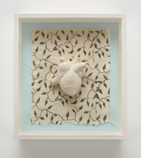 <i>Plaster Heart on Fabric</i> 1988-2017 Plaster, alkyd on cotton, acrylic 14 3/4 x 13 1/4 x 3 3/4 inches; 38 x 34 x 10 cm