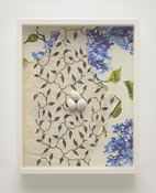 <i>Speckled Eggs/Dress Fabric/Wallpaper</i> 1988-2017 Epoxy putty with acrylic, alkyd on cotton, hand-printed silkscreen on paper 14 3/4 x 11 3/4 x 2 3/8 inches; 38 x 30 x 6 cm