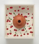 <i>Plunger/Cherries</i> 2000-2017 Terra-cotta, acrylic paint on fabric 14 3/4 x 13 1/4 x 4 1/2 inches; 38 x 34 x 11 cm
