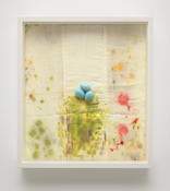 <i>Eggs on Stained Diaper</i> 2017 Epoxy putty, acrylic paint, stained cotton diaper 14 3/4 x 13 1/4 x 2 3/8 inches; 38 x 34 x 6 cm