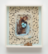 <i>Eggs and Leaf</i> 1988-2017 Epoxy putty with acrylic, plastic lid, acrylic on paper, alkyd on cotton 14 3/4 x 13 x 2 1/2 inches; 38 x 33 x 6 cm