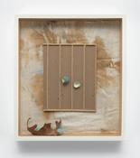 <i>Cardboard</i> 1993-2018 Cotton diaper with paint, balsa wood, cardboard, cast plastic, epoxy putty, acrylic paint, paper 14 3/4 x 13 x 2 1/2 inches; 38 x 33 x 6 cm