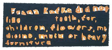 <i>Franz Kafka did not like teeth, fur, children, flowers...</i> 1992 Watercolor on paper 5 x 11 1/2 inches; 13 x 29 cm