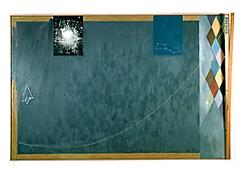 <i>Bridge</i> 1997 Oil on canvas with objects 78 x 118 x 8 inches; 198 x 300 x 20 cm