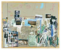 Dieter Roth <i>5. Bürotisch-Matte, Bali-Mosfellssveit</i> 1994-96 Collage of pencil, watercolor, acrylic and oil paint, indian ink, marker, photos, scrap and drawing tools on grey cardboard mounted on plywood 33 1/2 x 41 3/8 inches; 85 x 105 cm