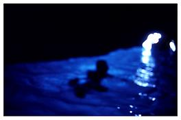 <i>Gigi in the blue grotto with light, Capri</i> 1997 Cibachrome 30 x 40 inches; 76 x 102 cm