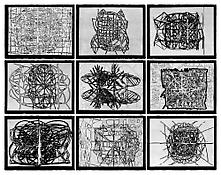 <i>Graphic Primitives</i> 1998 Portfolio of nine woodcuts on Japanese Kochi paper Image: 18 x 24 inches, each; 46 x 61 cm, each Sheet: 20 x 26 inches, each; 51 x 66 cm, each