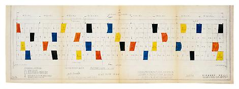<I>Study for Sculpture for a Large Wall, 1957, definitive color plan</i> 1956 Ink on blueprint 12 3/8 x 36 3/16 inches; 31.5 x 92 cm