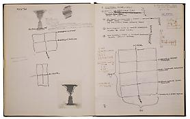 Jasper Johns <i>Sketchbook</i> ca. 1970s-1980s Bound between boards 104 sheets Ink, graphite and collage on paper 14 x 11 inches; 36 x 28 cm