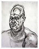 <i>Large Head</i> 1993 Etching on Somerset Satin Textured  300gsm Paper Plate: 27 5/16 x 21 5/16 inches; 69 x 54 cm Sheet: 31 1/8 x 25 inches; 79 x 64 cm