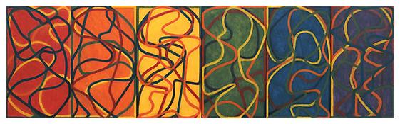 <i>The Propitious Garden of Plane Image, First Version</i> 2000-2005 Oil on linen 6 panels: 42 x 24 inches (each); 107 x 61 cm Overall: 42 x 144 inches; 107 x 366 cm