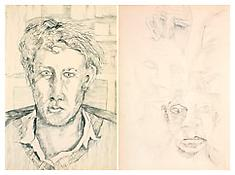 <i>Self-Portrait</i> (recto) <i>Drawing</i> (verso) 1940 Ink on paper 8 1/2 x 5 3/4 inches; 22 x 15 cm