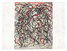 <i>Letter with Red</i> 2007-2009 Kremer ink and Kremer white shellac ink on Lanaquarelle paper 22 1/2 x 30 inches; 57 x 76 cm