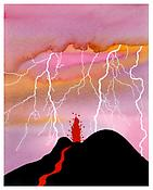 <i>Small Eruption</i> 2004 Acrylic and ink on paper 8 3/8 x 6 5/8 inches; 21 x 17 cm