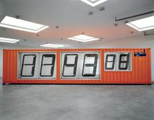 <i>Meantime</i> 2000 Steel sea container, aluminum polycarbonate, computerized electronic control system and components.  114 x 480 x 96 inches; 290 x 1219 x 244 cm
