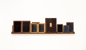 <I>Blackboard Tableau #1</i> 2007–2010 Found tablets, made tablets, wood, acrylic, alkyd oil, pastel, string, paper 17 1/4 x 70 1/4 x 2 inches; 43.82 x 178.44 x 5.08 cm
