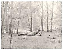 <i>Paul Thek in the Woods</i> 1957 Pigmented ink print 13 x 10 inches; 33 x 25 cm