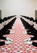 <i>Tischgesellschaft (Company at the Table)</i> 1988 Polyester, wood, cotton and paint 4 ft. 7 in. x 52 ft. 6 in. x 5 ft. 9 in.; 140 x 1600 x 175 cm