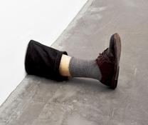 <i>Untitled Leg</i> 1989-1990 Beeswax, cotton, wood, leather, human hair 11 3/8 x 7 3/4 x 20 inches; 29.5 x 20 x 51 cm