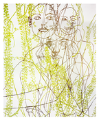 <I>Water Painting (Georgie and Orchid)</i> 1999 Enamel paint on aluminum 120 x 95 inches; 305 x 241.5 cm