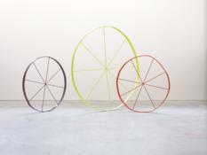 <I>The Wonky Wheel (Purple)</i>, <I>The Wonky Wheel (Yellow)</i>, and <I>The Wonky Wheel (Red)</i>, all 2013