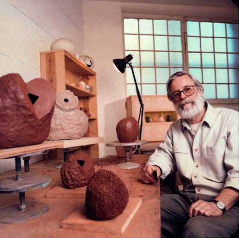 "Ken Price in his studio in Venice, Calif., in 1992. Photo courtesy Ken Price Family. Read about Price's life and work <a href=""http://www.nytimes.com/2012/02/25/arts/design/ken-price-sculptor-who-helped-elevate-ceramics-dies-at-77.html?_r=1&hpw"">here.<http://www.nytimes.com/2012/02/25/arts/design/ken-price-sculptor-who-helped-elevate-ceramics-dies-at-77.html?_r=1&hpw/> </a>"