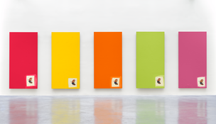 <I>Untitled</i> 1996  Enamel and silkscreen on aluminum, five parts  Each: 98 1/2 x 49 1/4 inches; 250 x 125 cm