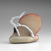 <I>Centaur Of Attention</i> 2014 Ceramic, glaze, catalyzed polyurethane, epoxy resin 5 1/2 x 6 x 3 1/2 inches; 14 x 15 x 9 cm